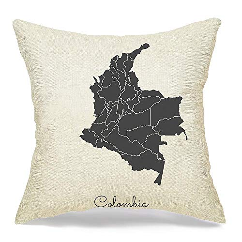 Decorative Square Throw Pillow Cover Cushion Pillowcase Colombia World Presentation Region Map Grey Outline On Signs Col Information Symbols Miscellaneous Home Decor Decoration for Sofa 16x16 Inch
