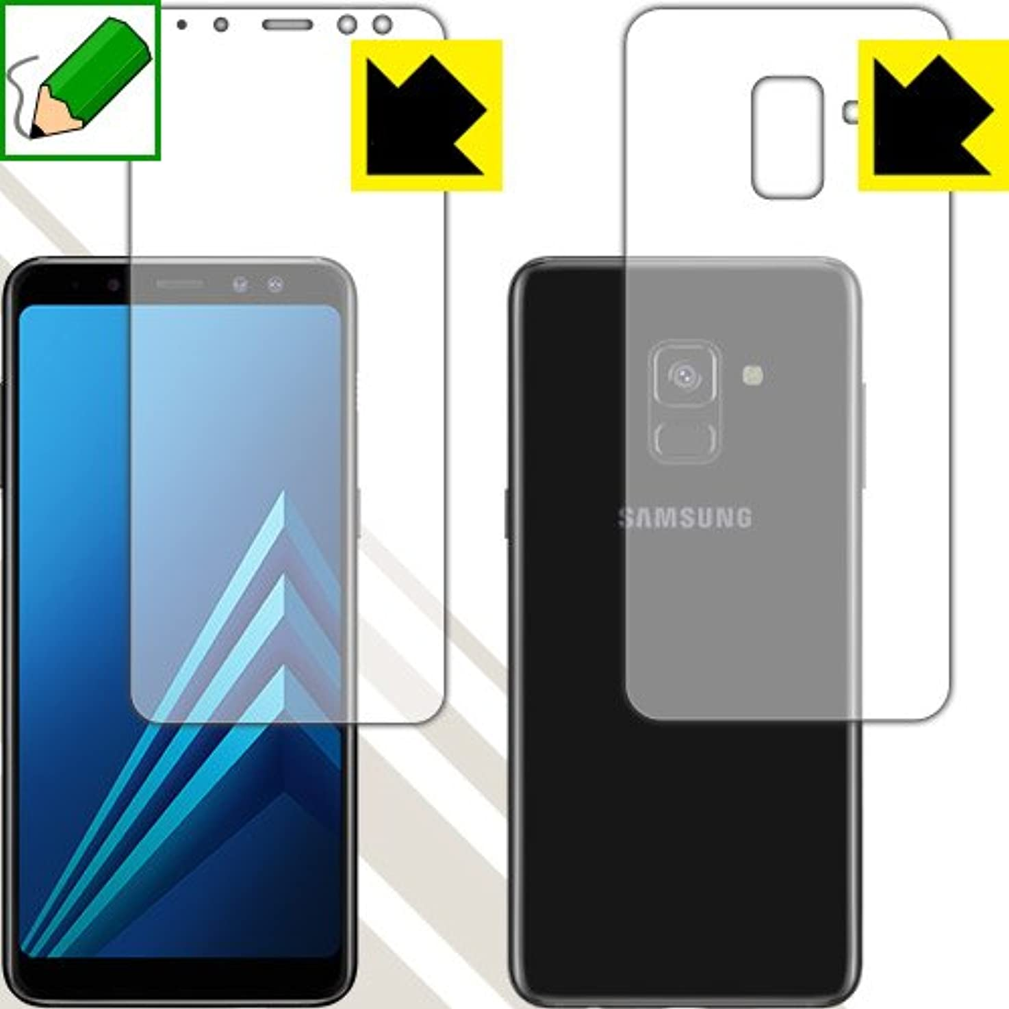 親指直立ランチョン特殊処理で紙のような描き心地を実現 ペーパーライク保護フィルム Galaxy A8 (2018) SM-A530F 両面セット 日本製