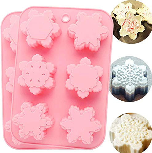 CHICHIC 6 Cavity Silicone Snowflakes Soap Molds, Handmade Soaps, Baking Mold Cake Pan, Biscuit Mold, Chocolate Mold, Ice Cube Tray for Homemade Craft Cake Mold Pudding Mold Jello Mold DIY