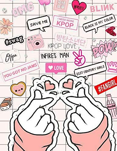 KPOP Love Saranghae TWO Finger Heart Sign Big Notebook for KNETZ and Fans: Comics Heart College Ruled Blank Lined Journal for School or Personal Notes for Teens and Fangirls [Lingua Inglese]