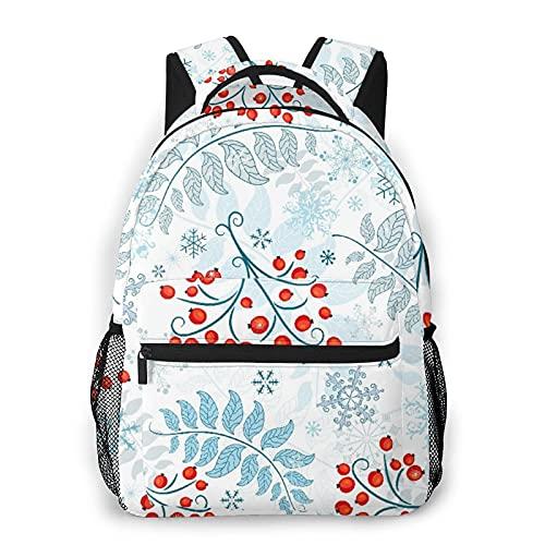 CVSANALA Multifuncional Casual Mochila,Patrón de invierno blanco con bayas, hojas y copos de nieve,Paquete de Hombro Doble Bolsa de Deporte de Viaje Computadoras Portátiles