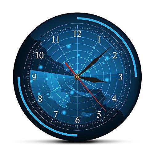 CVG Pantalla de Radar Azul con Mapa Reloj de Pared Radar con Objetivos Arte en el hogar Raster of The Air Army Assassination Reloj de Pared Decorativo Regalos para Hombres
