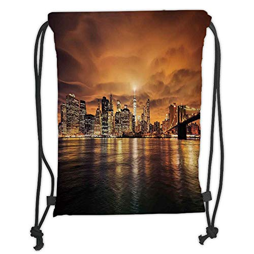 LULUZXOA Gym Bag Printed Drawstring Sack Backpacks Bags,Cityscape,Manhattan at Sunset New York from Brooklyn Reflections Seaport Scenery Print,Orange Black Soft Satin,