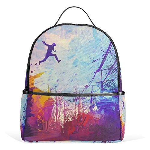 ALAZA Abstrakt Parkour Malerei Rucksack-Schule Bookbag Gelegenheits Daypack