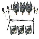 NGT Carp Fishing Rod Pod 3x Black Bite Alarms With Volume Control 3x Indicator Swingers & Rests