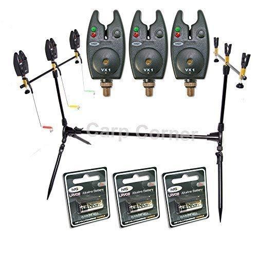 NGT Carp Fishing Rod Pod 3x Black Bite Alarms With Volume Control 3x Indicator Swingers Rests