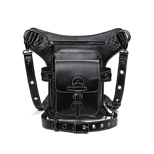 DXENXPG Riñonera Punk Bolsillos de Montar en Exteriores Europeos y estadounidenses Multi-Back Bolsos de Motocicletas de Tendencia Creativa para Hombres y Mujeres Bolsos Cruzados