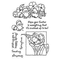 friendsty クリアシールスタンプ、ハッピーイースター春の祝福の言葉シリコンシールスタンプDIYスクラップブッキングスタンプ