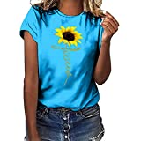Womens Easter T Shirts Women's Bunny Letter Print Graphic Tee Tops Summer Short Sleeve Top Tunic Blouse Women's Fun Happy Graphic Tees Summer Cute Round Neck Short Sleeve Letter Printed T-Shirts Blue