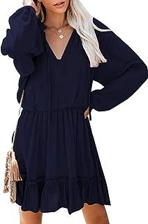 Women's Long Sleeve Tunic Dress V Neck Swing Casual T-Shirt Dresses Mini Dress
