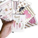 JJZS Greeting Card 12Pcs / Set Tarjeta De Felicitación En Polvo Dorado Para La Temporada Navideña Tarjeta De Mensaje De Regalo De Bendición De Navidad Año Nuevo Tarjetas Postales Gracias, A