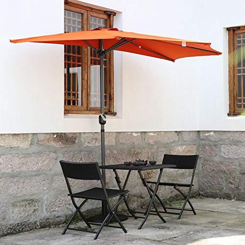 Angel Living 270 cm Semi - Parasol de Jardin, Résistant aux UV 50+, Demie Rond Ombrelle contre le Mur idéal pour Balcon, Terrasse, Jardin (terre cuite).