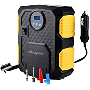 Mbuynow Tyre Inflator, Air Compressor Car Tyre Pump, Digital Pressure Gauge 12V Tyre Inflation, Valve Adaptors for Car Bicycles Tires, Basketball Football and Other Inflatables
