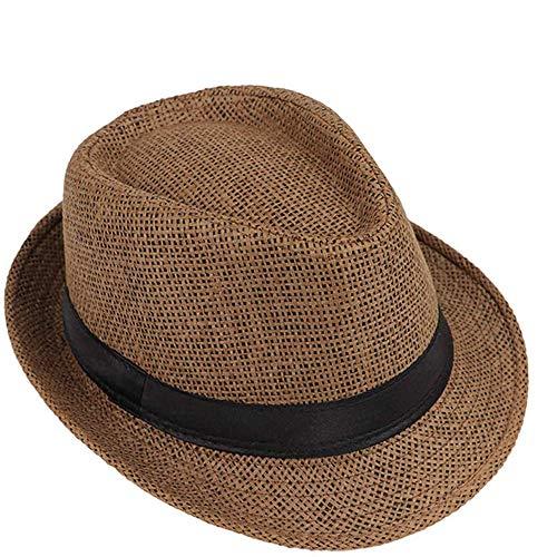 Nobranded Mädchen Jungen Sonnenhut Jazz Panamahut Kappe Sommer Strand Sonne Outdoor atmungsaktiv Gr. Medium, G# Braun