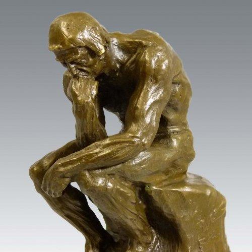Kunst & Ambiente - Große Moderne Bronzeplastik - Der Denker - Auguste Rodin Skulptur auf Marmorsockel - signiert - 100% Bronze
