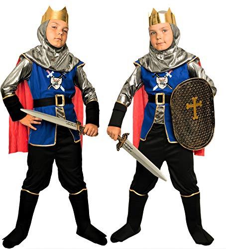 Magicoo königliches Ritterkostüm Kinder Jungen Mittelalter Gr. 92 bis 140 - Faschingskostüm Ritter Kostüm (110/116)