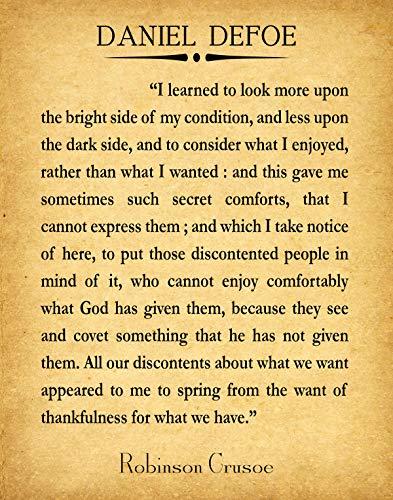 Wallbuddy Gratitude Quote by Daniel Defoe Robinson Crusoe Book Quote (13 x 19, Vintage)