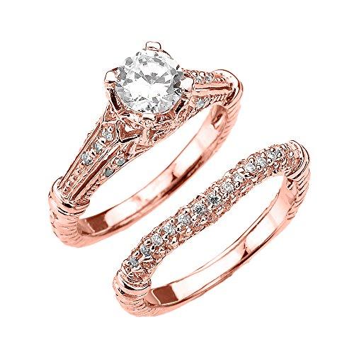 Damen Ring/ Verlobungsring 14 Karat Rotgold Art Deco