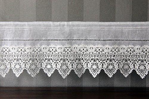 Gardine Landhaus Leinen Shabby Chic Vintage Baumwolle Spitze 60x30