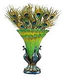 Design Toscano Grand Plumage Peacock Sculptural Vase, Full Color