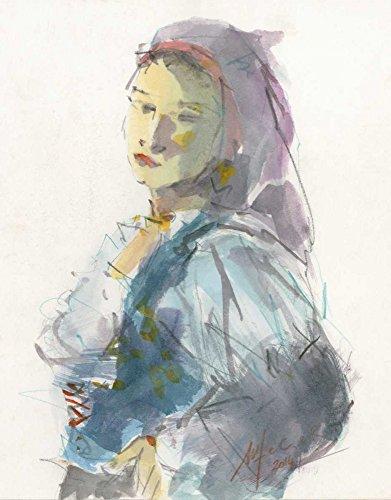 AFDRUKKEN-op-GEROLDE-CANVAS-Vrouw-met-traditionele-Sardijnse-jurk-en-lila-hoofdtooi-Fadda-MariaNella-traditioneel-Afbeelding-gedruckt-op-canvas-100%-katoen-Afmeting-127_X_99_cm