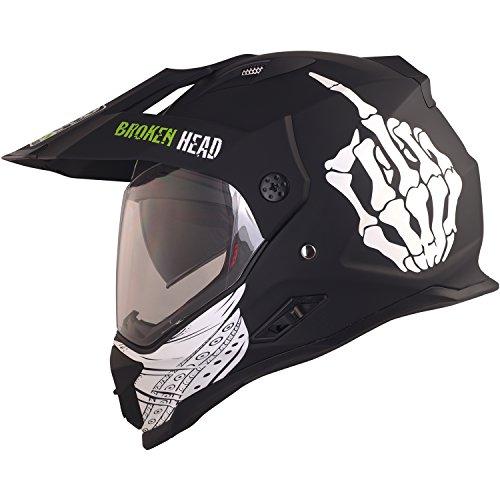 Broken Head Street Rebel Cross-Helm grün mit Visier - Enduro-Helm - MX Motocross Helm mit Sonnenblende - Quad-Helm (S 55-56 cm)