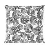 Nielsen Kissenbezug Leaves, 45x45 cm, Gray Pinstripe (weiß/grau), Baumwolle, Bedruckt, Gemustert,...