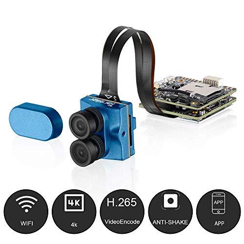 Caddx Tarsier V2 4K HD FPV Camera Upgraded 7G 12M 1200TVL Dual Lens Super WDR WiFi Mini FPV Camera HD Recording DVR Dual AUD OSD with ND8 Filter for RC Racing Drone Like Beta85X (Blue)