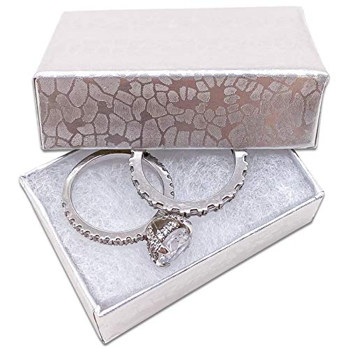 TheDisplayGuys Pack of 25 Cotton Filled Cardboard Paper Silver Jewelry Box Gift Case - Silver Foil #10 (1 15/16' x 1 1/4' x 11/16')