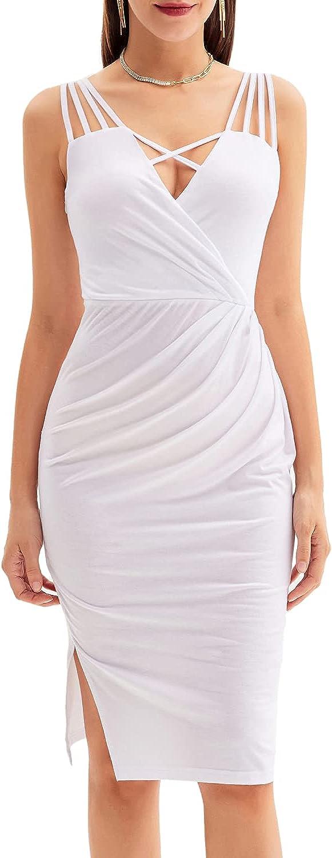 GRACE KARIN Women V Neck Spaghetti Strap Bodycon Dress Sleeveless Ruched Midi Party Dress