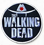 Patches DIY Movie Film Costume Rare Horror Patches Iron SEW ON Badges Retro Cult Slasher (The Walking Dead 90mm.)