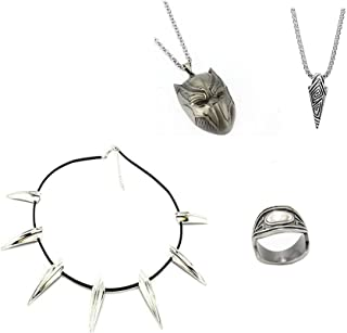 Bo Feng 4 Pack Black Panther Necklace & Ring Wakanda King T'Challa Cosplay Pendant