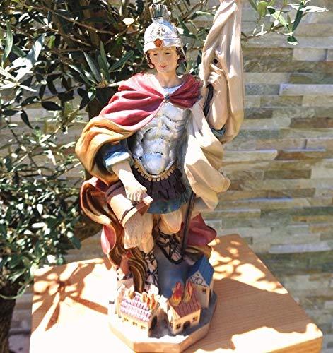35 - 38 cm ÖLBAUM - PREMIUM - Heiligenfigur Heiliger Florian, mit Wasserkanne und Speer, Schutzpatron der Feuerwehr, der Bäcker, Kaminkehrer / Rauchfangkehrer, Töpfer, Bierbrauer und aller Feuerwehrleute - alle ÖLBAUM HEILIGEN- und Krippenfiguren zeichnen sich durch extrem sauber gearbeitete und präzise Gesichtszüge der Figuren aus, coloriertes Holzfiguren- bzw. Echtholzimitat, standfeste, handbemalte Steinfigur, schwer