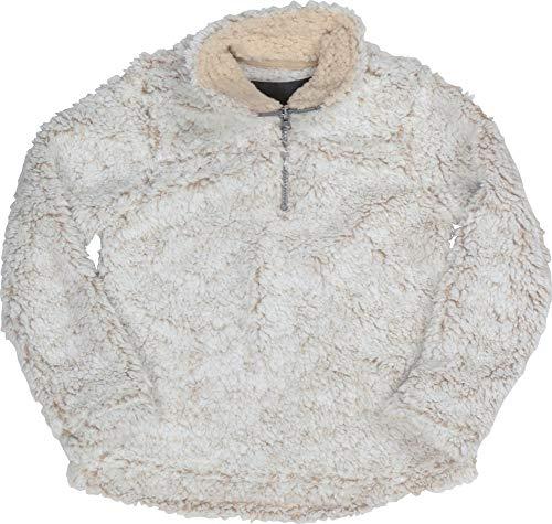 Cambridge Select Girls' Quarter Zip Sherpa Fleece Pullover Jacket (Small, Cream)
