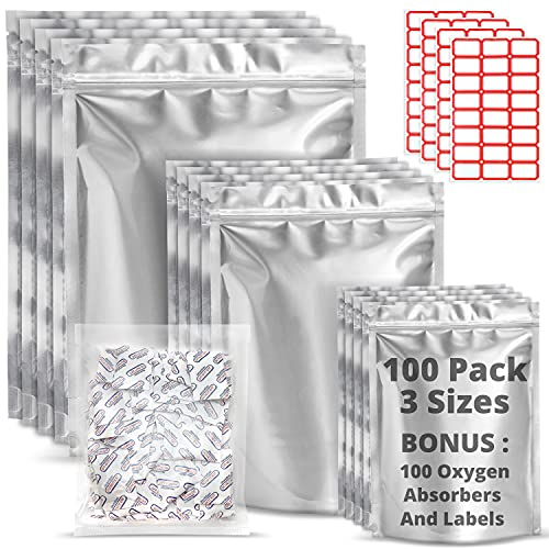 Premount 100 Mylar Bags for Food Storage With Oxygen Absorbers 300cc - 1 Gallon 4 Mil 10'x14',...