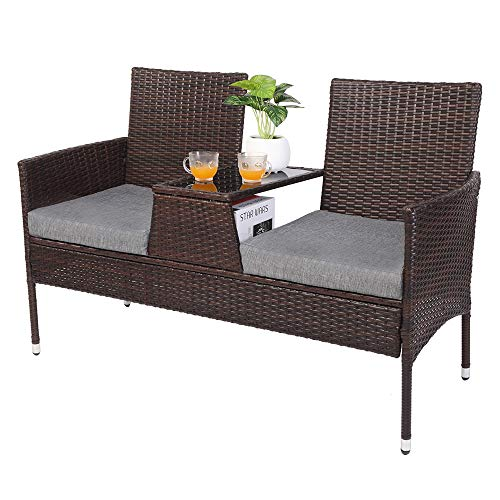 VINGLI Wicker Patio Loveseat Sofa with Cushions and Table, Outdoor Furniture Set, Rattan Patio Conversation Set Patio Chair for Backyard Lawn Poolside