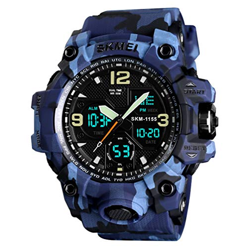 HiChili Herren Uhren Armbanduhr Sportuhren 50M Wasserdicht Militär Digitaluhr mit Wecker LED-Licht Display Luminous Sportuhr mit Tarnen PU-Uhrenarmband für Outdoor Tauchen Bergsteigen, Blau
