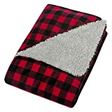 Trend Lab Red & Black Buffalo Check Flannel & Faux Shearling Baby Blanket
