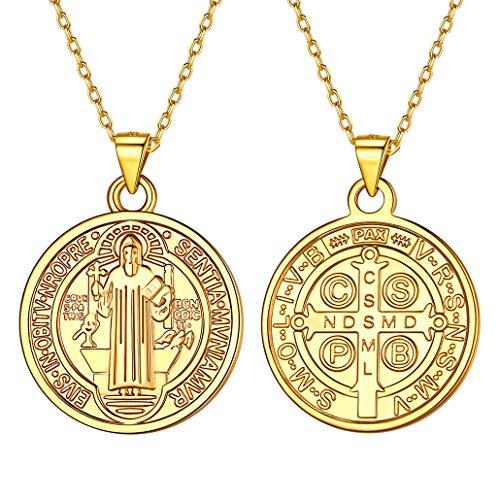 Silvora Medalla Oro San Benito Cruz con Cadena Mujer Hombre con Oro baño Medallas San Benito Abad Bendecida