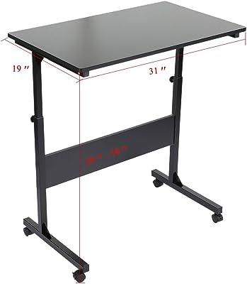 GOTOTOP Laptoptisch Höhenverstellbar Schreibtisch mit Rollen Multifunktionaler Laptoptisch Bürotisch (Schwarz)