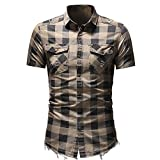 NOBRAND Denim Burr Classic Plaid Shirt Herren Kurzarm Slim Fit Denim Shirt Gr. M, Mikaki