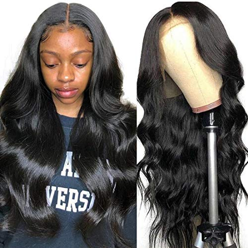UNice Hair Body Wave Lace Front Human Hair Wig Middle Part for Black Women Brazilian Virgin Human Hair T Part Lace Frontal Wigs Pre Plucked with Baby Hair 150 Density 18 inch
