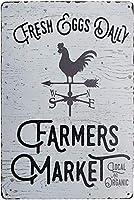 新鮮な卵デイリーファーマーズマーケットチキンサインヴィンテージメタルティンサインキッチン農家家の装飾サインギフト8X12インチ