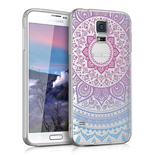 kwmobile Hülle kompatibel mit Samsung Galaxy S5 / S5 Neo - Handyhülle - Handy Case Indische Sonne Blau Pink Transparent