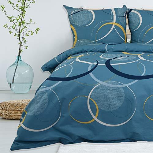 Bettwäsche Deluxe 2 Teilig aus 100% Baumwolle Renforce mit Reißverschluss Bettwäscheset 1 Bettbezug und 1 Kissenbezug Komfortgröße, Größe 155x220 cm, Farbe Muster