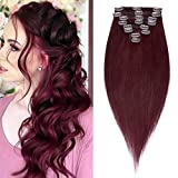 S-noilite 14inch Clip in Real Human Hair Extension Burgundy 100% Human Hair #99J Wine Red 60g 8pcs 18 Clips Full Head Clip on Remy Hair Extensions Silky Straight Natural Ends