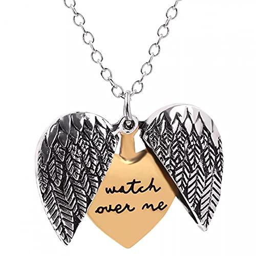 Chenfeng Collar de Hombre Collar con Colgante de corazón de Amor Unisex Alas de ángel Reloj de Talla de Letras Acerca de mí Estilo Vintage Regalo para Esposo Padre Novio Regalo de cumpleaños