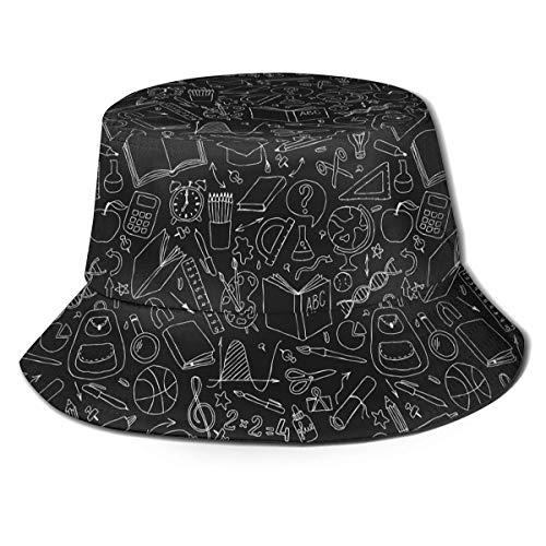 AOOEDM Útiles Escolares Divertidos Bolso Escolar Lindo Arte Impresión Unisex Sombrero de Cubo Patrón Sombreros de Pescador Verano Reversible Packable Cap Mujeres Hombres Niña Niño
