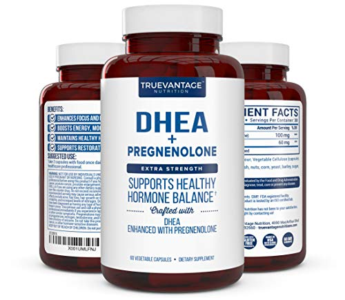 DHEA 100mg Supplement with Pregnenolone 60mg -Supports Hormone Balance, Lean Muscle Mass, Energy, Mood, Sleep, and Healthy Aging in Men and Women by Truevantage Nutrition