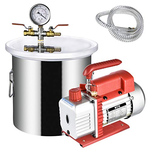 3 Gallon Vacuum Degassing Chamber kit with 3CFM Vacuum Pump, Stainless Steel Pressure Pot for Resin Casting, Wood Stabilizing, Degassing Silicones and Essential Oils